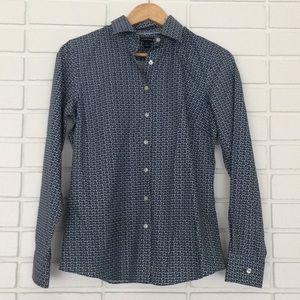 Lands' End Blue Floral Print Button-Down Shirt